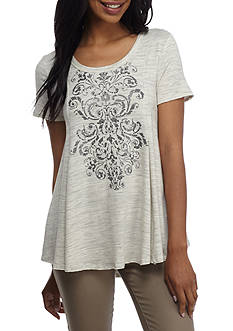 New Directions® Weekend Short Sleeve Screen Printed Knit Swing Top
