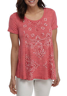 New Directions Weekend Short Sleeve Mixed Paisley Swing Top