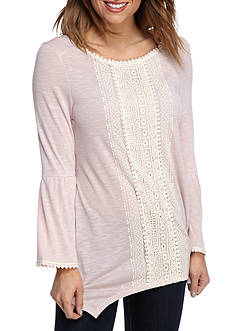 New Directions® Weekend Crochet Front Bell Sleeve Top