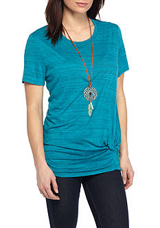 New Directions® Weekend Knot Front Stripe Knit Tee with Necklace