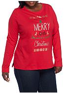 Kim Rogers® Plus Size Merry Christmas Tee