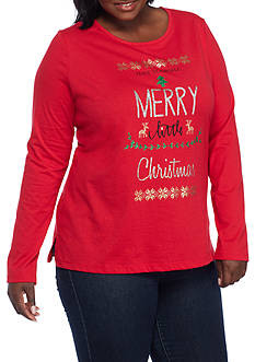 Kim Rogers Plus Size Merry Christmas Tee