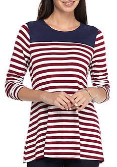 Kim Rogers Long Sleeve Colorblock Yoke Stripe Tee