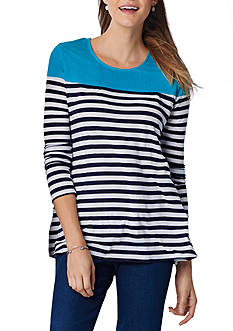 Kim Rogers Long Sleeve Colorblock Striped High Low Top