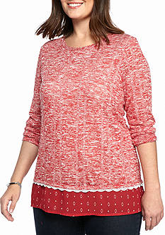 Kim Rogers Hachi Woven Knitted Trim Top