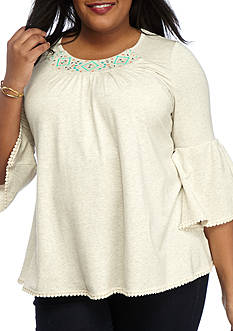 Kim Rogers® Plus Size Embroidered Peasant Top