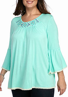 Kim Rogers Plus Size Embroidered Peasant Top
