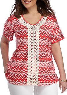 Kim Rogers Plus Size Short Sleeve V-Neck Crochet Panel Shirt