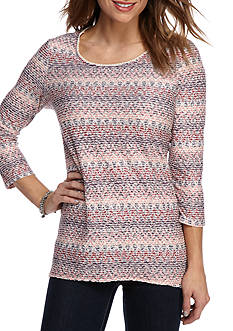 Kim Rogers Three Quarter Sleeve Textured Swing with Lace Chevron Shirt