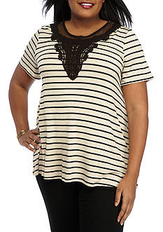 Kim Rogers Plus Size Short Sleeve Stripe Crochet Inset Swing Top