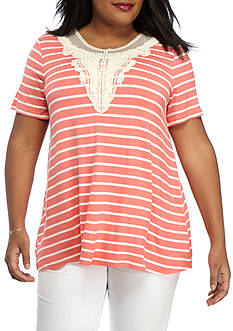 Kim Rogers Plus Size Stripe Crochet Inset Swing Top