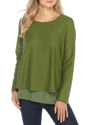 Long Sleeve Texture Woven Top