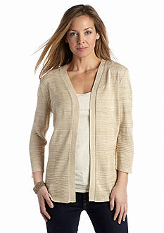 Kim Rogers® Three-Quarter Sleeve Open Front Cardigan
