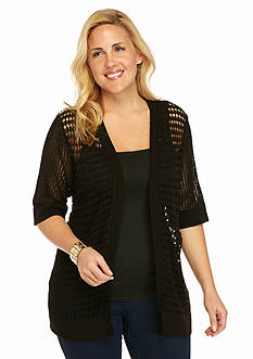 Kim Rogers® Plus Size Elbow Sleeve Knit Cardigan