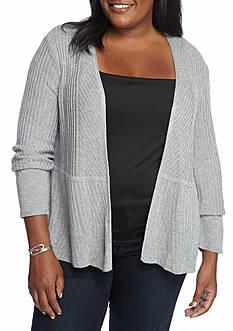 Kim Rogers Plus Size Ribbed Peplum Cardigan