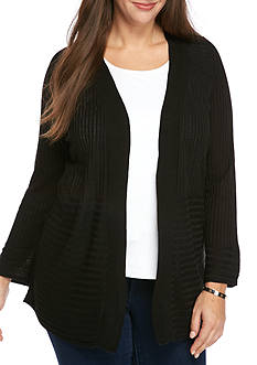 Kim Rogers Plus Size Long Sleeve Raglan Cardigan