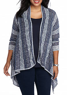 Kim Rogers Plus Size Tri Color Cardigan