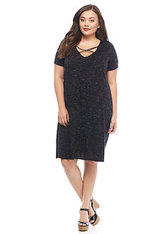 New Directions Plus Size Crisscross Front Swing Dress