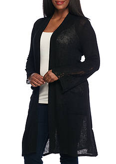 New Directions Plus Size Lace Inset Bell Sleeve Duster Cardigan