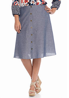 New Directions® Plus Size Button Front Skirt