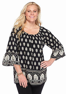 New Directions® Plus Size Bell Sleeve Printed Tunic