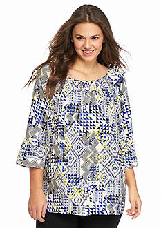 New Directions® Plus Size Bell Sleeve Allover Printed Tunic