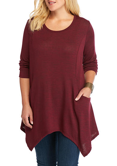 New Directions® Plus Size Sharkbite With Pockets Tunic Top