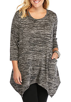 New Directions Plus Size Sharkbite With Pockets Tunic Top