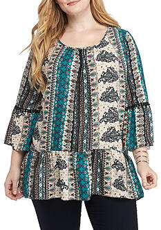 New Directions Plus Size 3/4 Sleeve Printed Flounce Hem Tunic