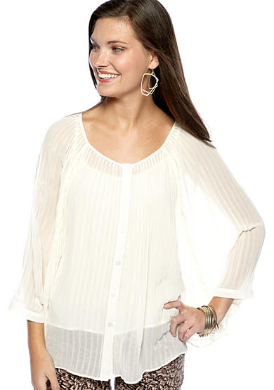 Jessica Simpson Pleated Button Front Blouse