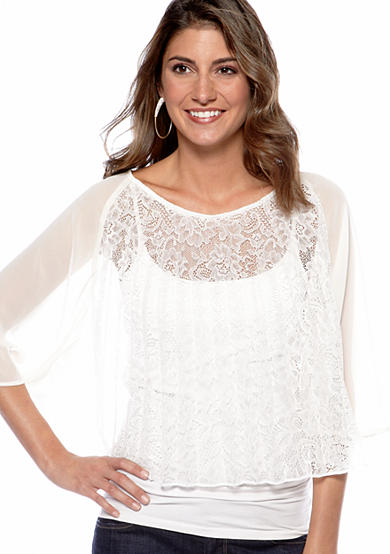Jessica Simpson Pleated Lace Blouse
