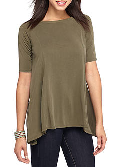 OLIVE + OAK Trapeze Seamed Knit High Low Top
