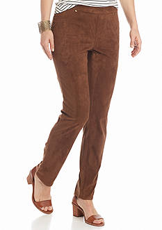 New Directions Petite Faux Suede Pull-On Pants