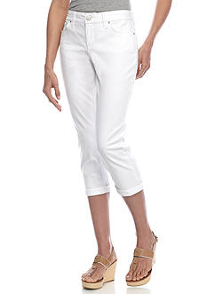 New Directions Weekend Embellished Wide Cuff Twill Capri