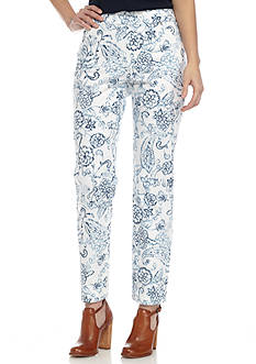 New Directions Petite Printed Pull-On Jean Ankle Pants