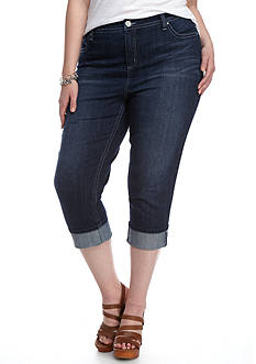 New Directions® Weekend Plus Size Wide Cuff Capri Jean