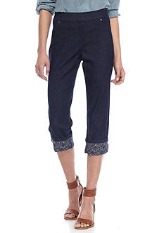 New Directions® Petite Size Pull On Crochet Hem Capri Pant