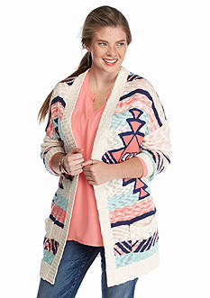 Pink Rose Plus Size Aztec Stripe Cardigan