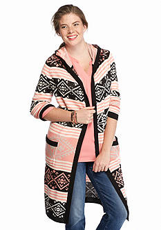 Pink Rose Plus Size Aztec Hooded Cardigan