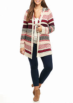 Pink Rose Plus Size Hooded Stripped Cardigan