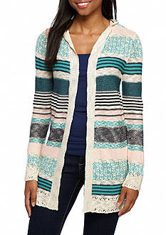 Pink Rose Stripe Printed Cardigan