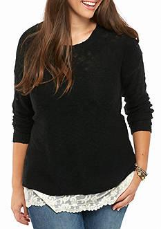 Pink Rose Juniors Plus Long Sleeve Crochet Trim Tunic Sweater