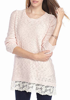 Pink Rose Promo Lace Hem Sweater