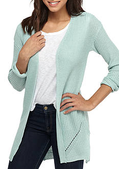 Pink Rose Solid Knit Pointelle Bottom Cardigan