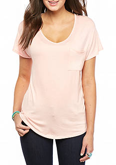 Pink Rose Pocket Knit Tee