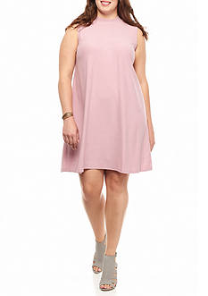 Pink Rose Plus Size Mock Neck Peached Swing Dress