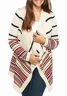 Pink Rose Plus Size Long Sleeved Multi-Striped Cardigan