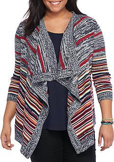 Pink Rose Plus Size Long Sleeved Multi-Striped Cardigan