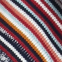 Juniors: Cardigan Sale: Tapestry Blue/Ivory Pink Rose Multi Striped Flyaway Cardigan