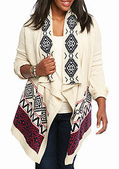 Pink Rose Plus Size Aztec Border Flyaway Cardigan